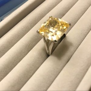 Yellow Stone Cocktail Ring size 8